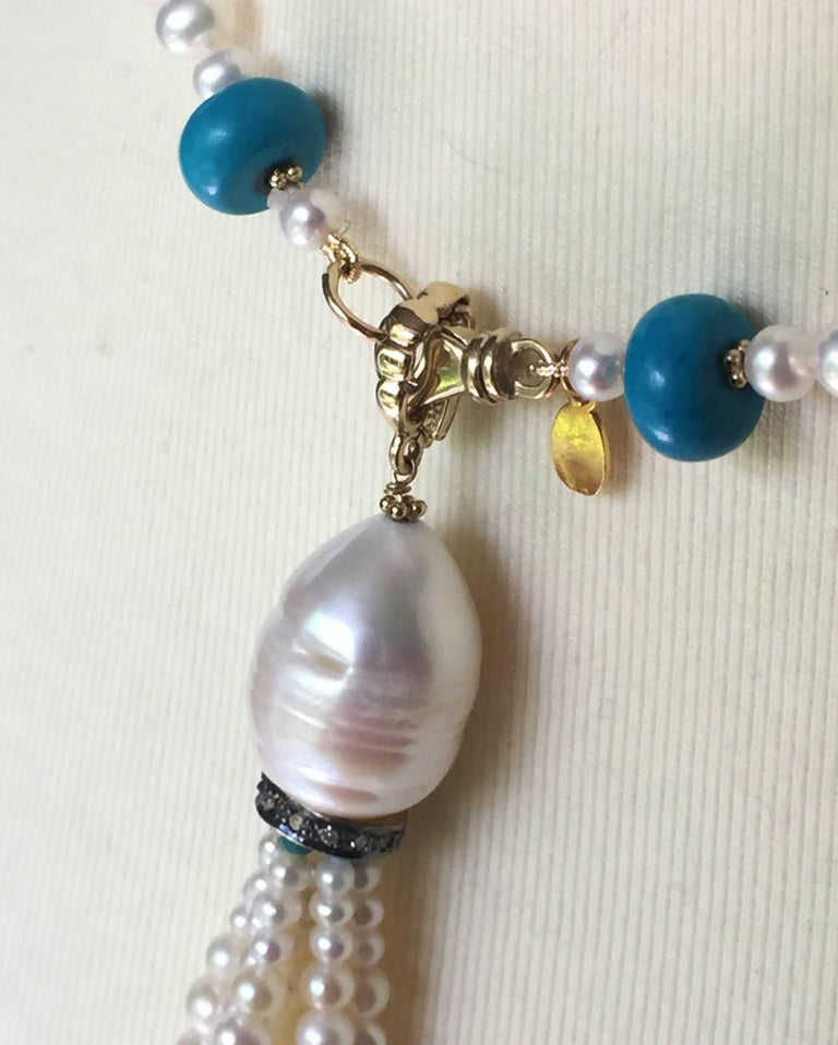 Graduated Pearl and Turquoise Necklace with 14k Gold Beads and Clasp with Tassel For Sale 2