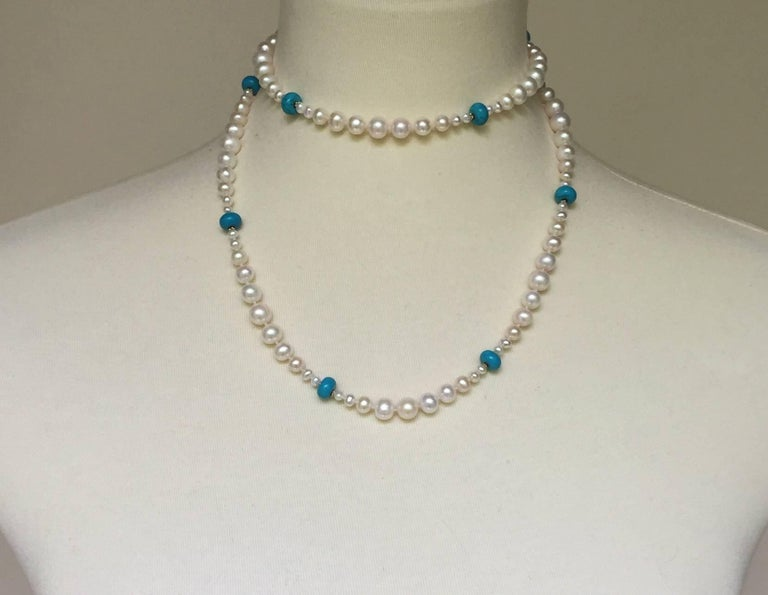 Graduated Pearl and Turquoise Necklace with 14k Gold Beads and Clasp with Tassel For Sale 3