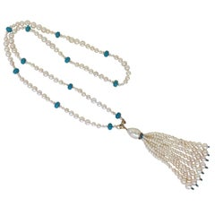 Graduated Pearl and Turquoise Necklace with 14k Gold Beads and Clasp with Tassel
