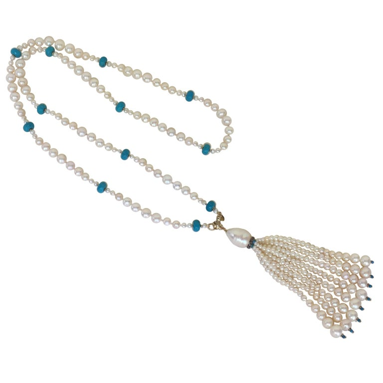 Graduated Pearl and Turquoise Necklace with 14k Gold Beads and Clasp with Tassel For Sale