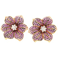 Graduated Pink Sapphire and Diamonds Pair of Rose Gold  flower Earrings Italy