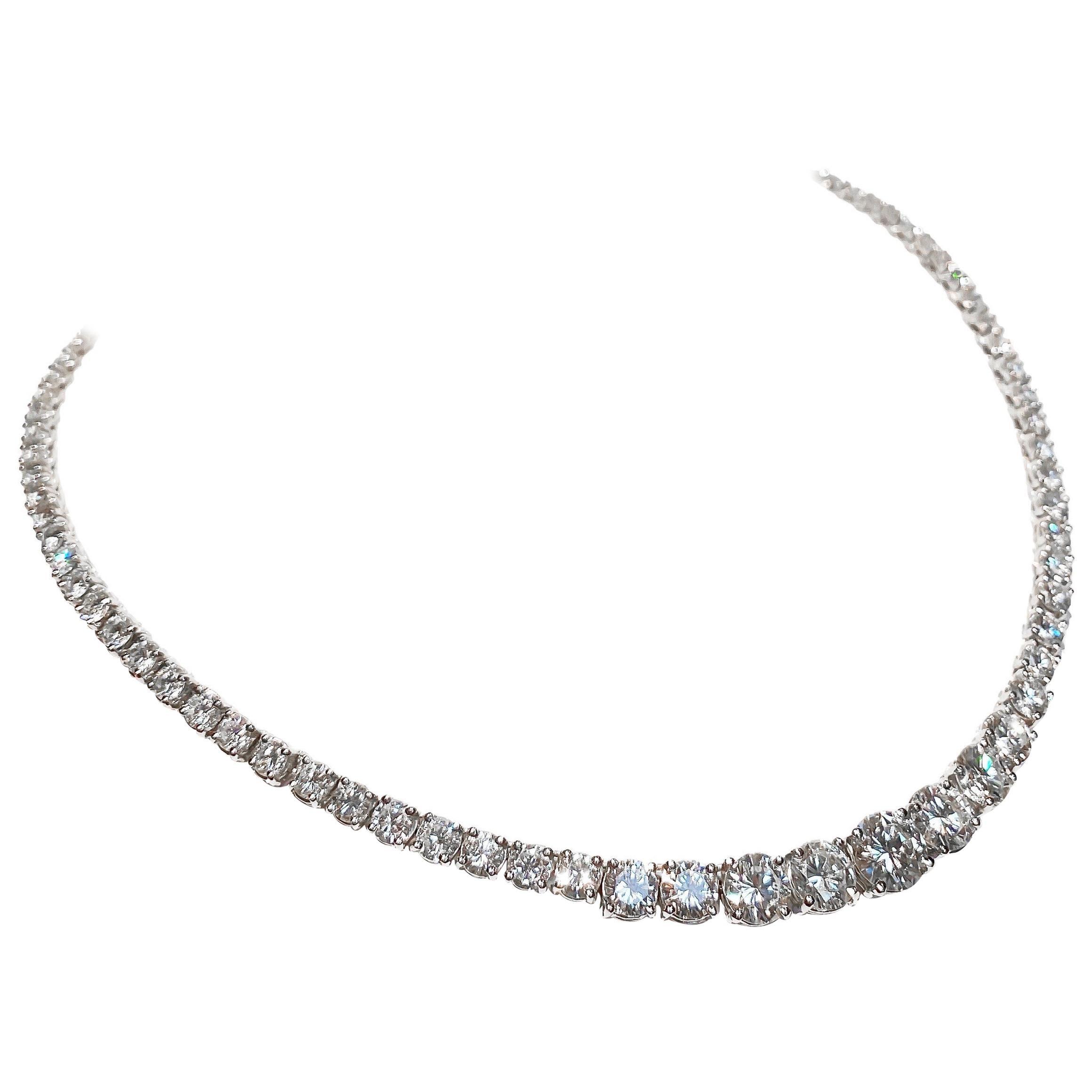 Graduated Platinum 21 Carat Riviera Necklace
