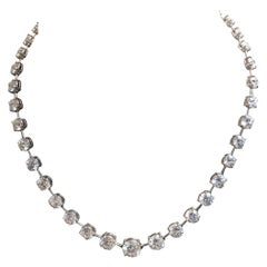 Graduated Platinum and Diamond Line Necklace