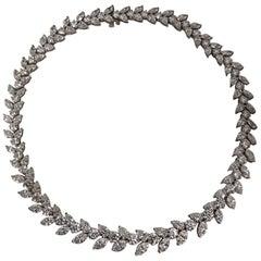 Graduated Platinum and Diamond Wreath Style Necklace