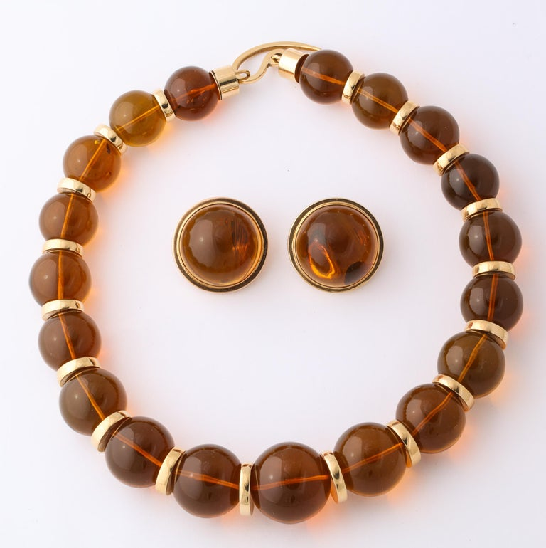 Graduated Reconstituted Amber and 18 Karat Yellow Gold Rondel Necklace For Sale 3