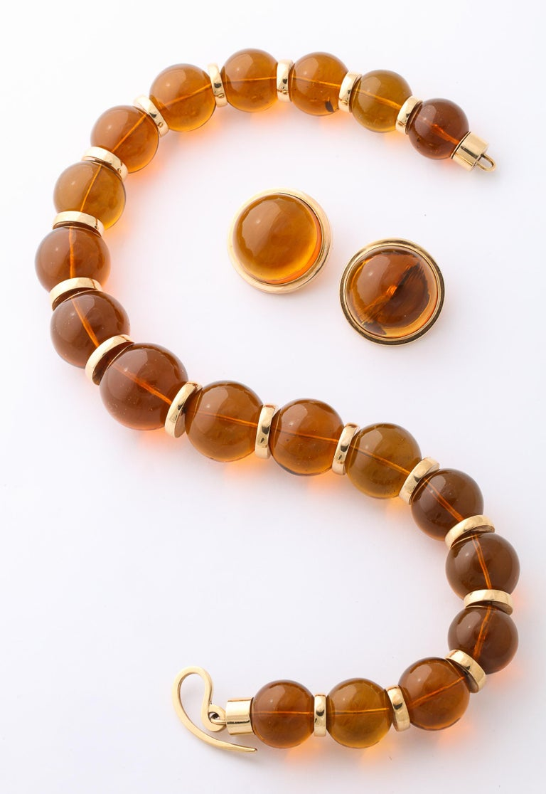 Graduated Reconstituted Amber and 18 Karat Yellow Gold Rondel Necklace For Sale 4