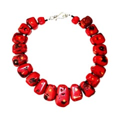 Graduated Red Coral Collar Necklace