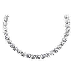 Graduated Rivière Diamond, Classic Single Strand Eternity Necklace/Headpiece