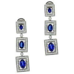 Graduated Sapphire and Diamond Drop Earrings