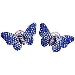 Graduated Sapphire Gold Butterfly Earrings