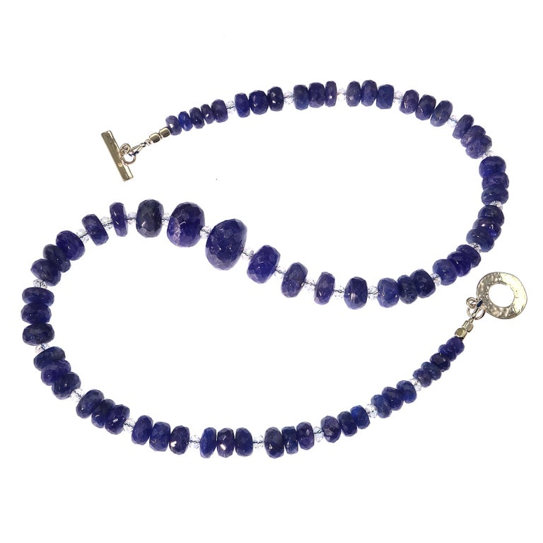 Women's or Men's Graduated Tanzanite Necklace with Crystal and Sterling For Sale