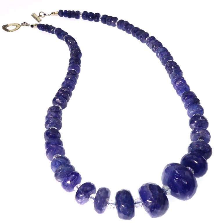 Graduated Tanzanite Necklace with Crystal and Sterling For Sale 2