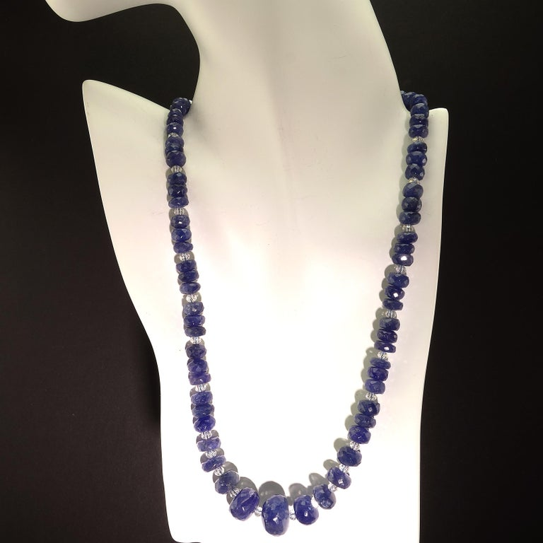 Graduated Tanzanite Necklace with Crystal and Sterling For Sale 5