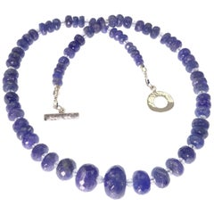 Graduated Tanzanite Necklace with Crystal and Sterling