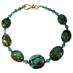 Graduated Turquoise Nugget and Amazonite Necklace