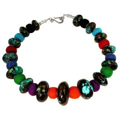 Exotic Graduated Turquoise Rondelles with Colorful Felted Wool Necklace