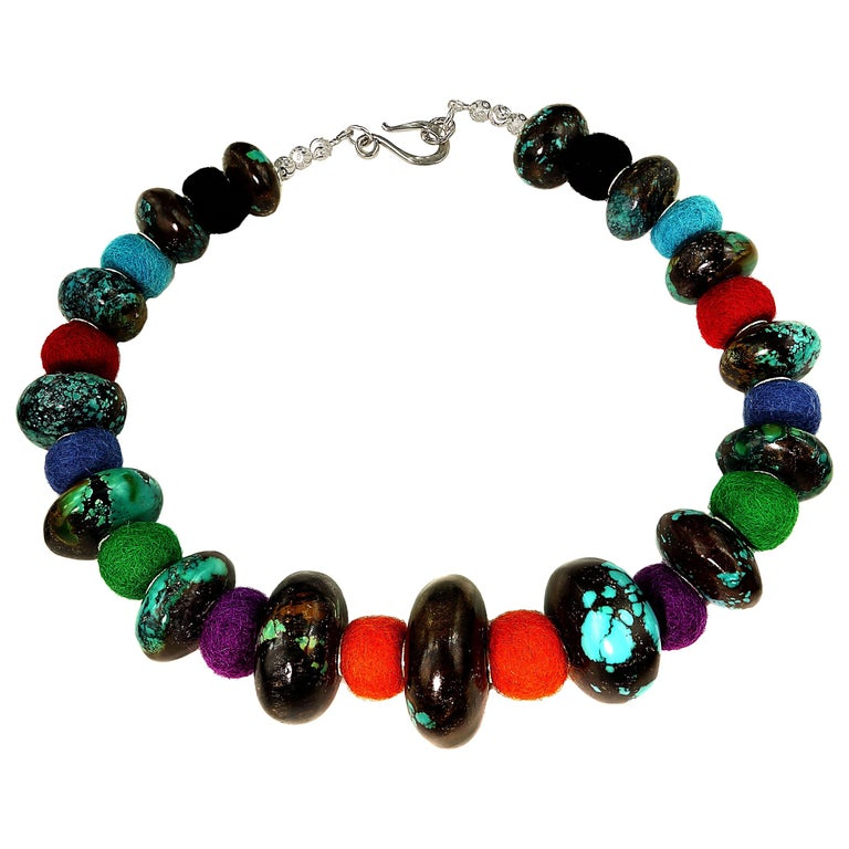Exotic Graduated Turquoise Rondelles with Colorful Felted Wool Necklace For Sale