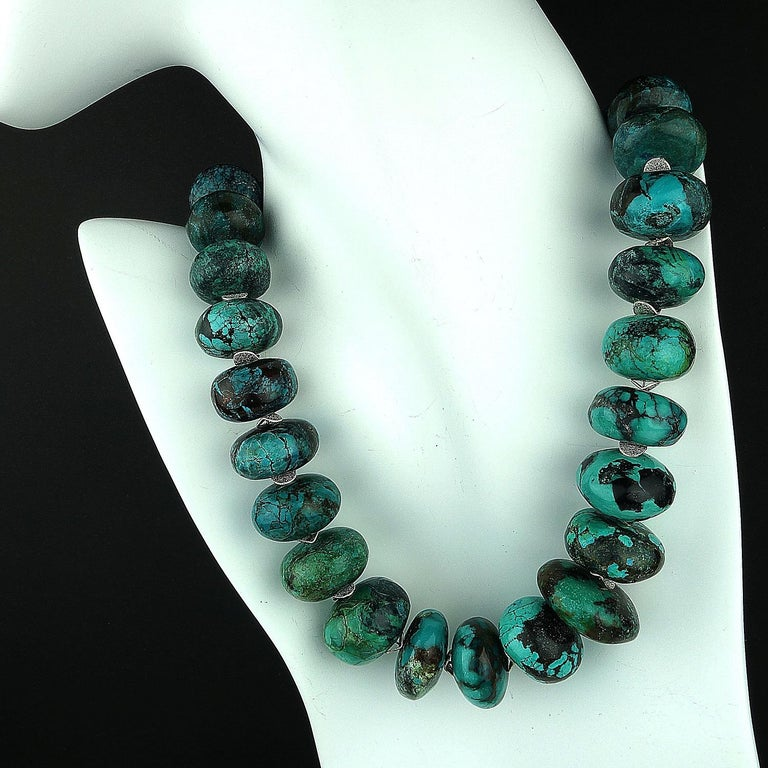 Graduated Turquoise Rondels with Silver Tone Flutters Necklace In New Condition For Sale In Tuxedo Park , NY