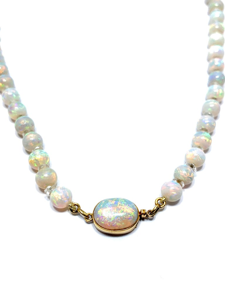 Retro Graduated White Opal Bead and Rock Crystal Quartz Yellow Gold Necklace