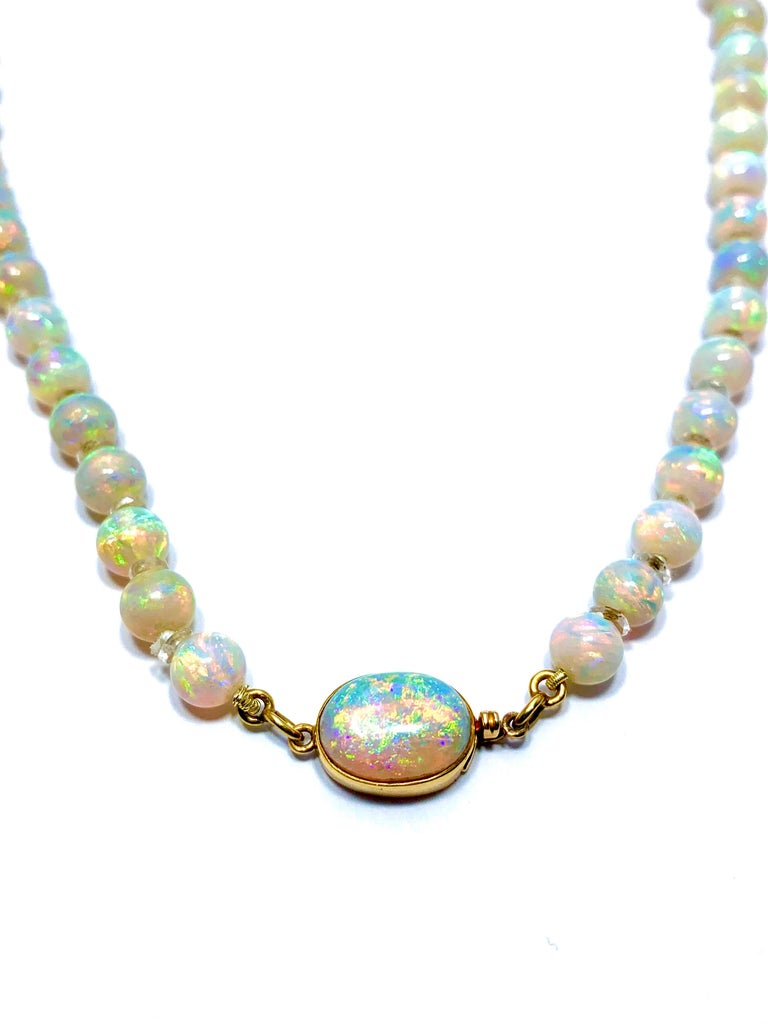 Round Cut Graduated White Opal Bead and Rock Crystal Quartz Yellow Gold Necklace