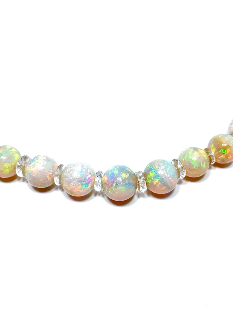 Women's or Men's Graduated White Opal Bead and Rock Crystal Quartz Yellow Gold Necklace