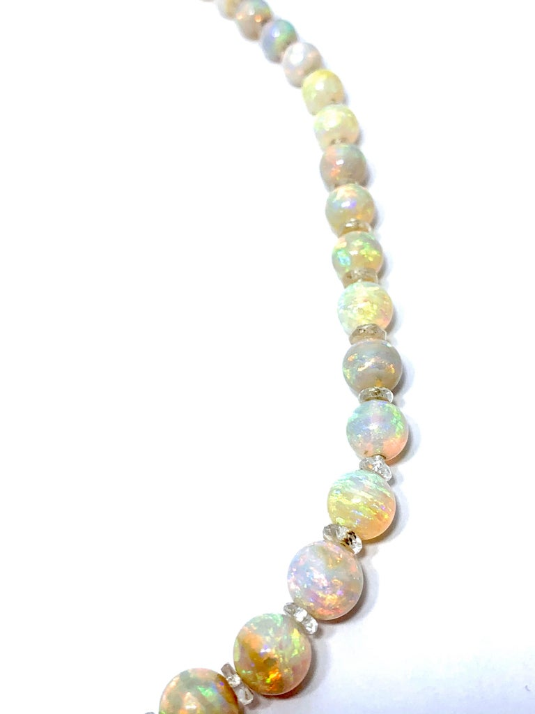 Graduated White Opal Bead and Rock Crystal Quartz Yellow Gold Necklace 1