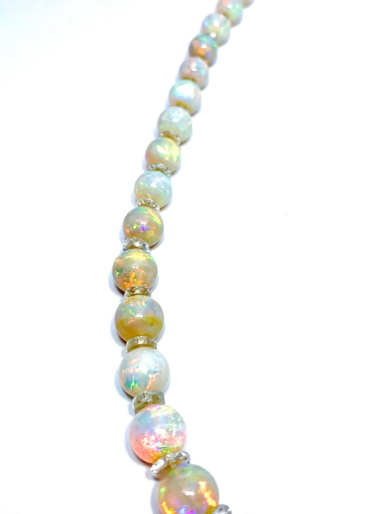 Graduated White Opal Bead and Rock Crystal Quartz Yellow Gold Necklace 2