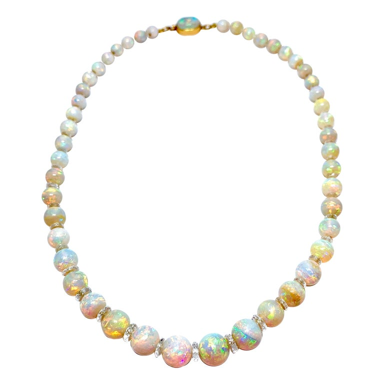 Graduated White Opal Bead and Rock Crystal Quartz Yellow Gold Necklace