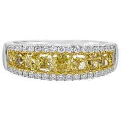 Graduating Cushion Cut Yellow Diamond Wedding Band