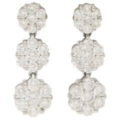 Graduating Diamond Triple Cluster Drop Earrings in 18 Karat White Gold