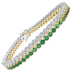 Graduating Green Emerald and Diamond Bracelet