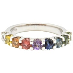 Graduating Rainbow Sapphire Half Eternity Band 18 Carat White Gold Ring