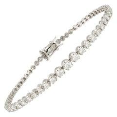 Graduation Setting Tennis Bracelet 18k White Gold Diamond for Her