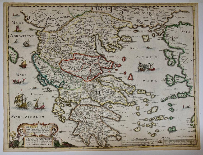 This is an original 17th century hand colored copperplate engraved map of Greece entitled
