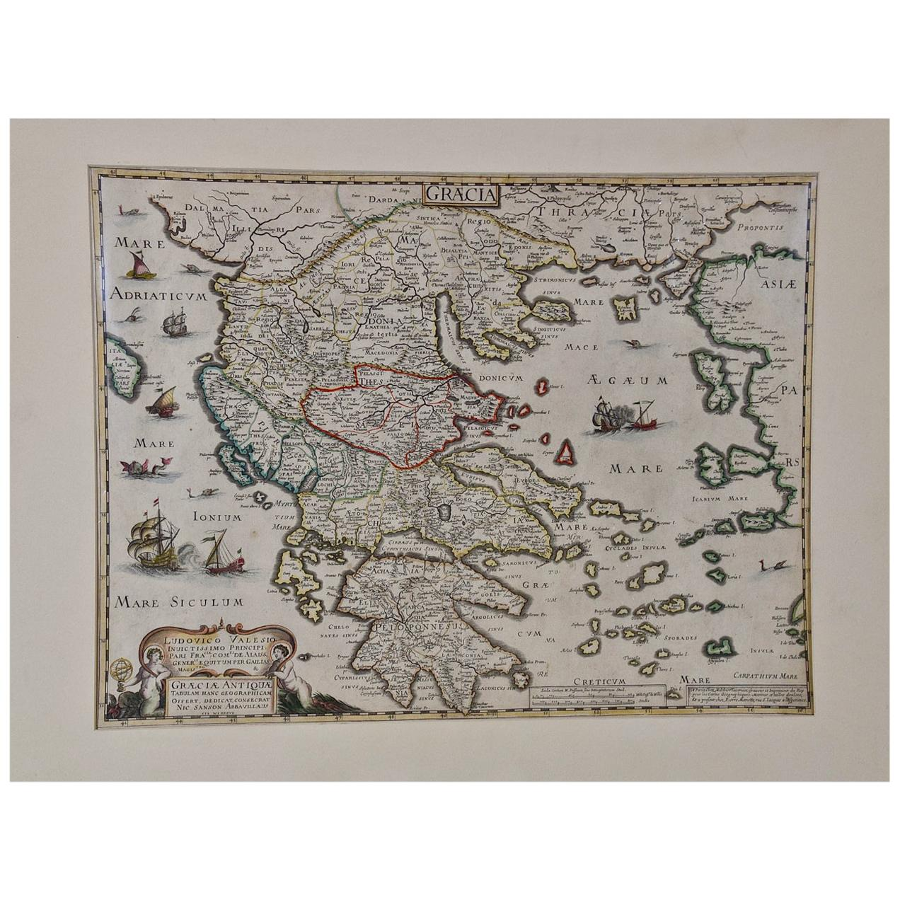 """""""Graeciae Antiquae"""", a 17th Century Hand Colored Map of Greece by Sanson"""