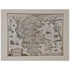 """Graeciae Antiquae"", a 17th Century Hand Colored Map of Greece by Sanson"