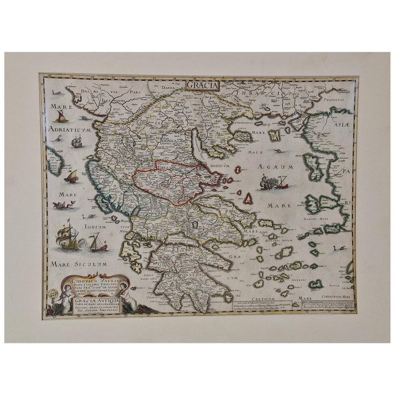 """""""Graeciae Antiquae"""", a 17th Century Hand Colored Map of Greece by Sanson For Sale"""