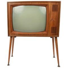Graetz Burggraf Midcentury Wooden Floor German Television, 1960s