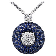 Graff 1.02 Carat Diamond and Sapphire Bombe Halo Pendant Necklace