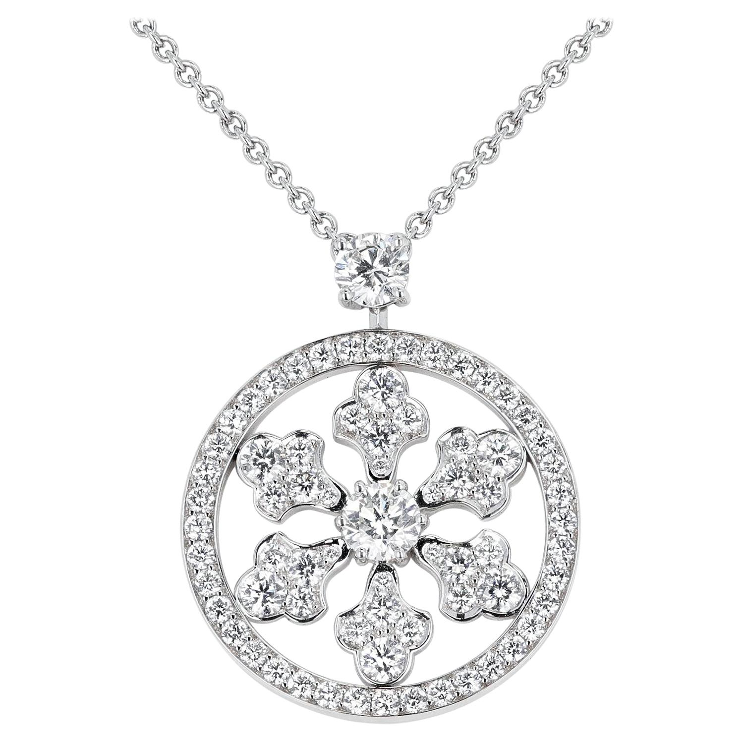 Graff 1.74 Ct. Diamond Snowflake Pendant Necklace, 18k White Gold