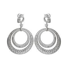Graff 17.8ct Diamond Double Hoop White Gold Earrings