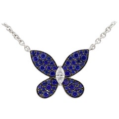 Graff 18 Karat White Gold Diamond and Sapphire Butterfly Pendant Necklace