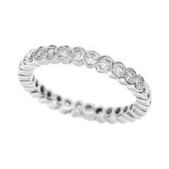 Graff 18 Karat White Gold Scalloped Set 1.13 Carat Diamond Eternity Ring