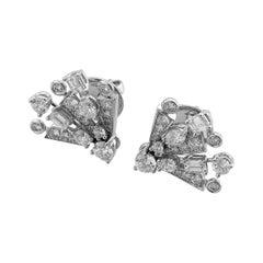 Graff 18 Karat White Gold Solar Diamond Mini Stud Earrings