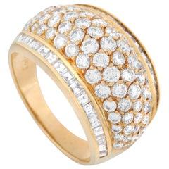 Graff 18 Karat Yellow Gold 3.51 Carat Diamond Wide Dome Ring
