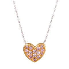 Graff 18 Karat Diamond Pave Heart Gold Pendant Necklace