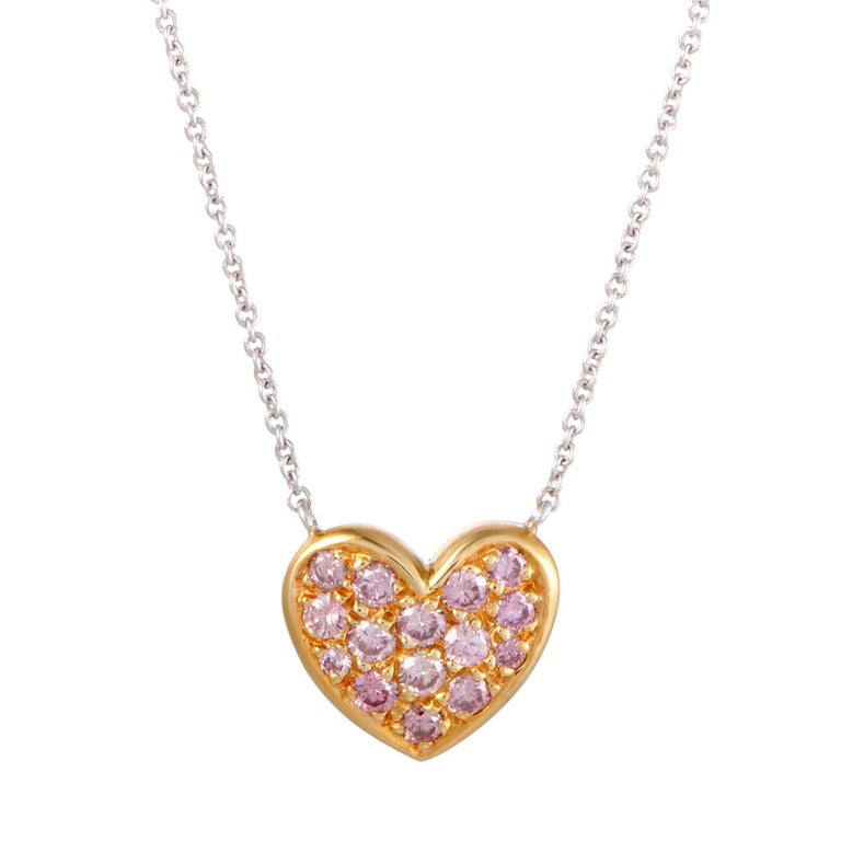 e5f8e252e0526 Graff 18 Karat Diamond Pave Heart Gold Pendant Necklace