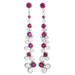 Graff 18K White Gold 3.97 Ct Diamond and Ruby Infinity Drop Earrings