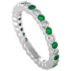 Graff 18 Karat White Gold Diamond and Emerald Eternity Band Ring