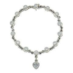 Graff 18k White Gold & Diamond Tennis Bracelet Heart Motif Rare